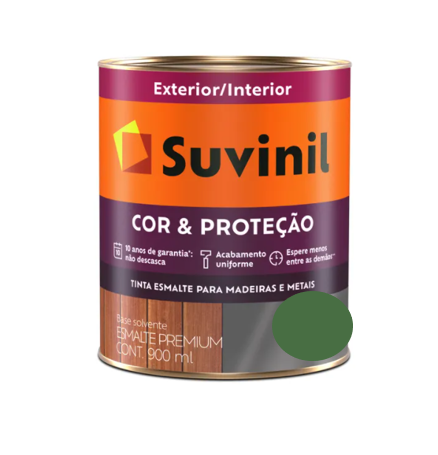 Tinta Esmalte Suvinil Cor & Proteção Brilhante Verde Folha Litro 900ml