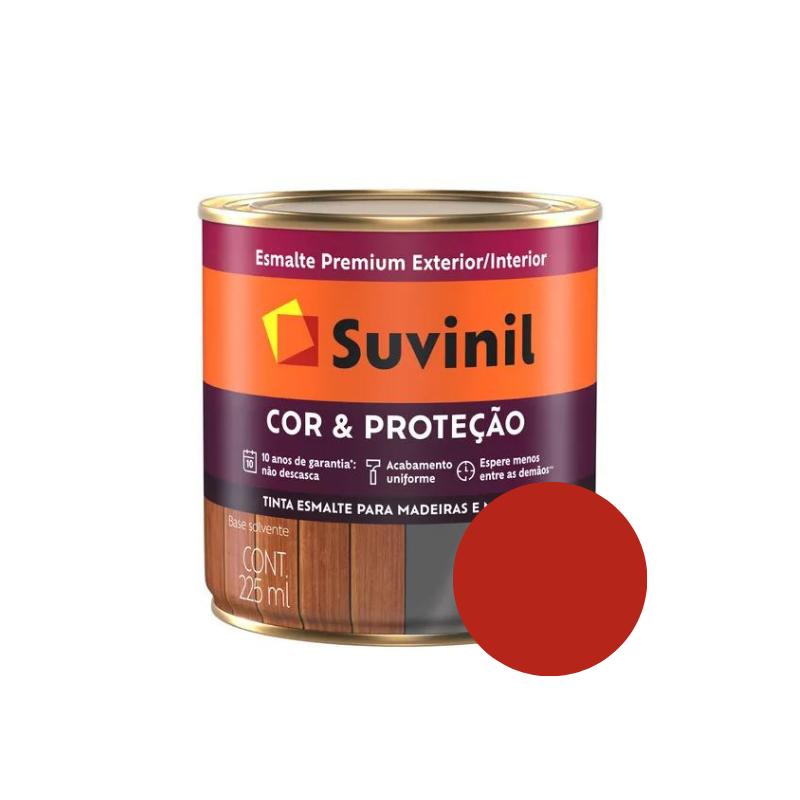 Tinta Esmalte Suvinil Cor & Proteção Brilhante Vermelho 225ml  - Casa Mattos