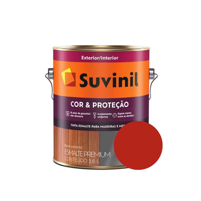 Tinta Esmalte Suvinil Cor & Proteção Brilhante Vermelho Galão 3,6L