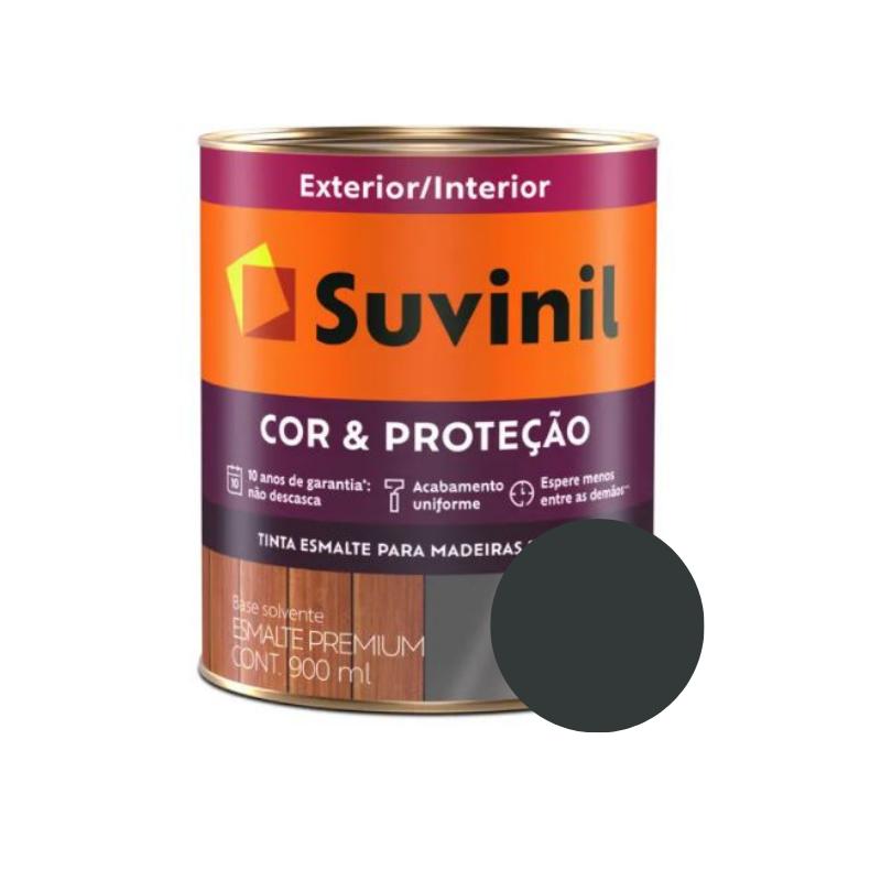 Tinta Esmalte Suvinil Cor & Proteção Fosco Preto 900ml  - Casa Mattos