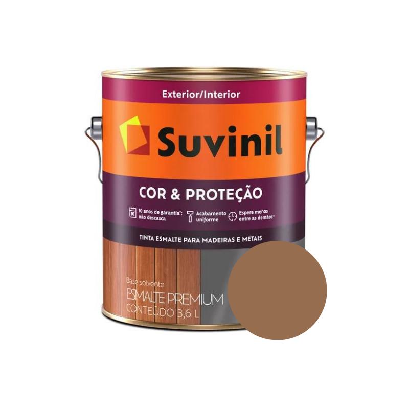 Tinta Esmalte Suvinil Cor & Proteção Galão 3,6L Cor Marrom-Conhaque  - Casa Mattos