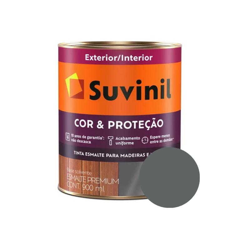 Tinta Esmalte Suvinil Cor & Proteção Grafite Claro 900ml