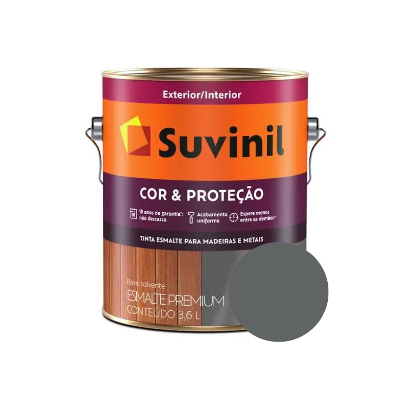 Tinta Esmalte Suvinil Cor & Proteção Grafite Claro Galão 3,6L