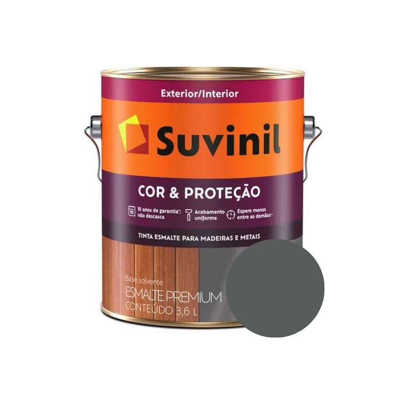 Tinta Esmalte Suvinil Cor & Proteção Grafite Escuro Galão 3,6L