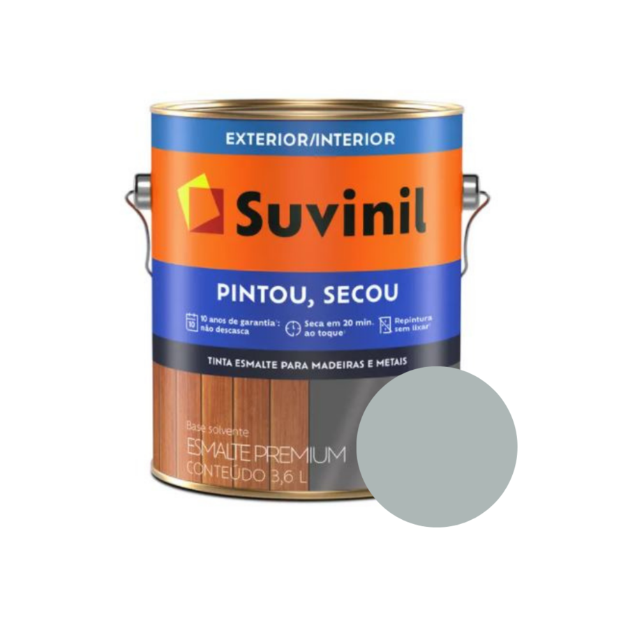 Tinta Esmalte Suvinil Pintou Secou Brilhante Platina Galão 3,6L