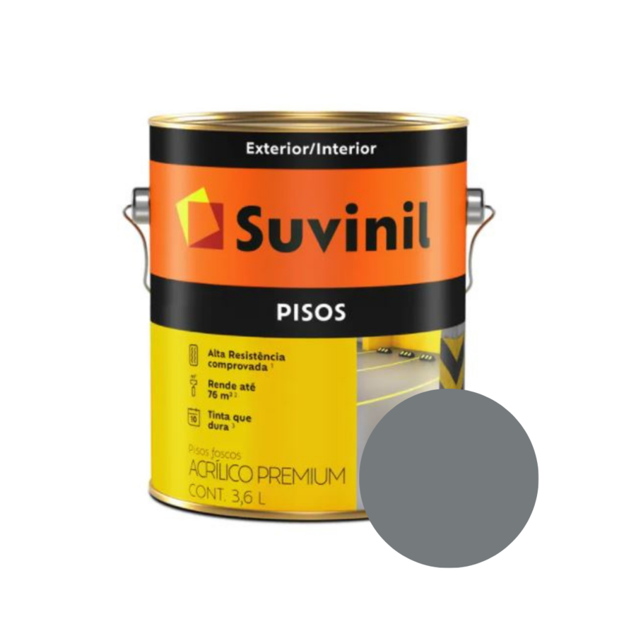 Tinta Suvinil Pisos Cinza Galão 3,6L  - Casa Mattos