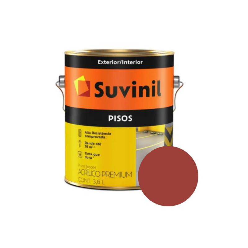 Tinta Suvinil Pisos Vermelho Galão 3,6L