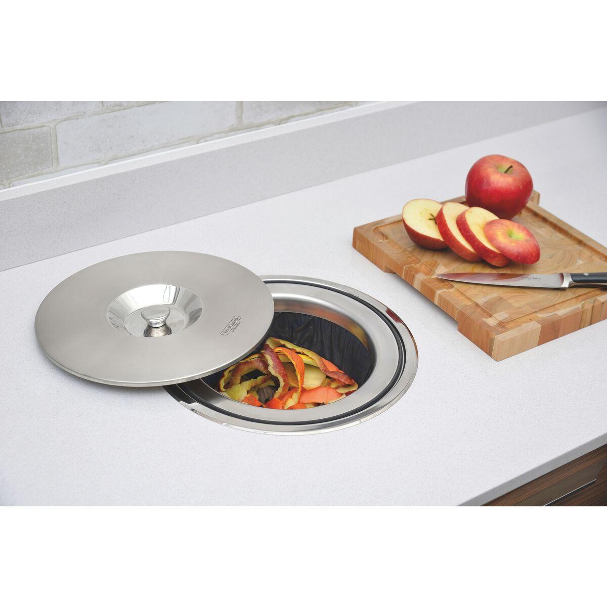 Lixeira de embutir Tramontina Clean Round em Aço Inox com Balde Plástico 94518000 8 L  - Casa Mattos