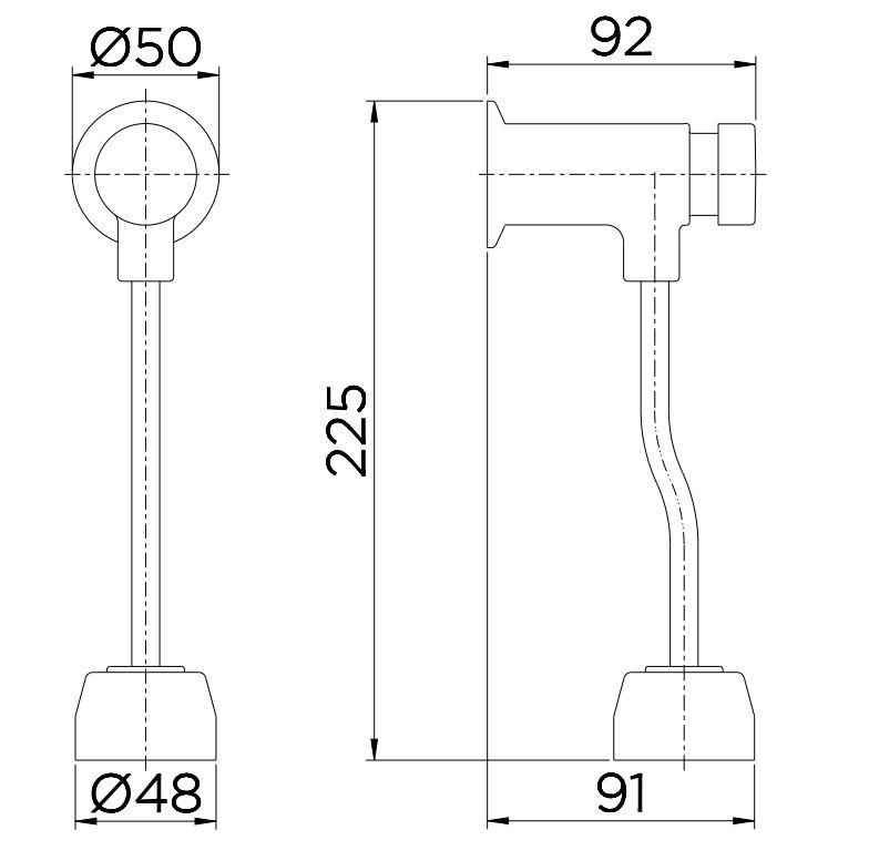 Válvula de Descarga Para Mictório Docol Pressmatic Compact 17010306 Cromada  - Casa Mattos