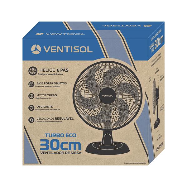 Ventilador Ventisol de Mesa 30cm Turbo Eco 6 Pás 127V Preto  - Casa Mattos