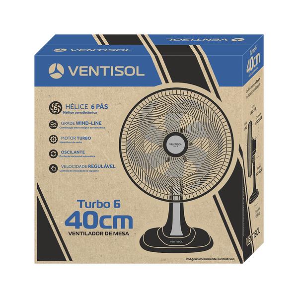 Ventilador Ventisol de Mesa 40cm Turbo 6 Pás 127V Preto  - Casa Mattos