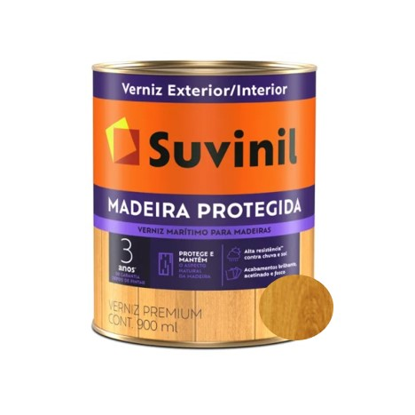 Verniz Marítimo Suvinil Madeira Protegida Brilhante Natural Litro 900ml