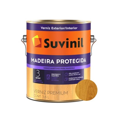 Verniz Marítimo Suvinil Maderia Protegida Fosco Natural Galão 3,6L