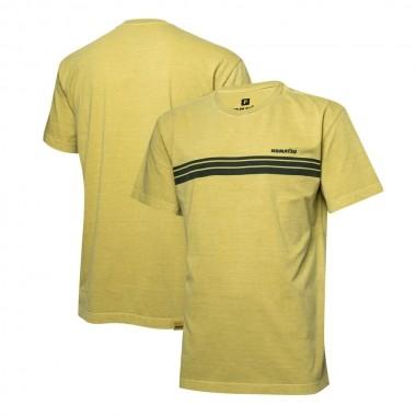 Camiseta Masc. KOMATSU Stripes Lavada - Amarela