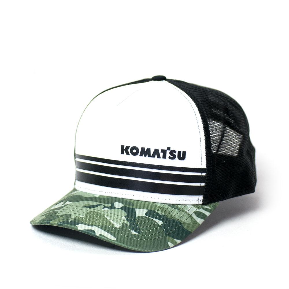 Boné Trucker KOMATSU Stripes - White/Camo