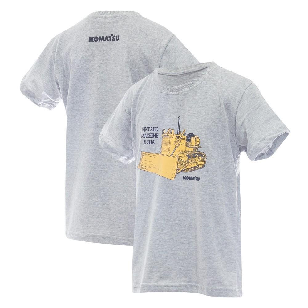 Camiseta Inf. KOMATSU Vintage D50A Cinza Mescla