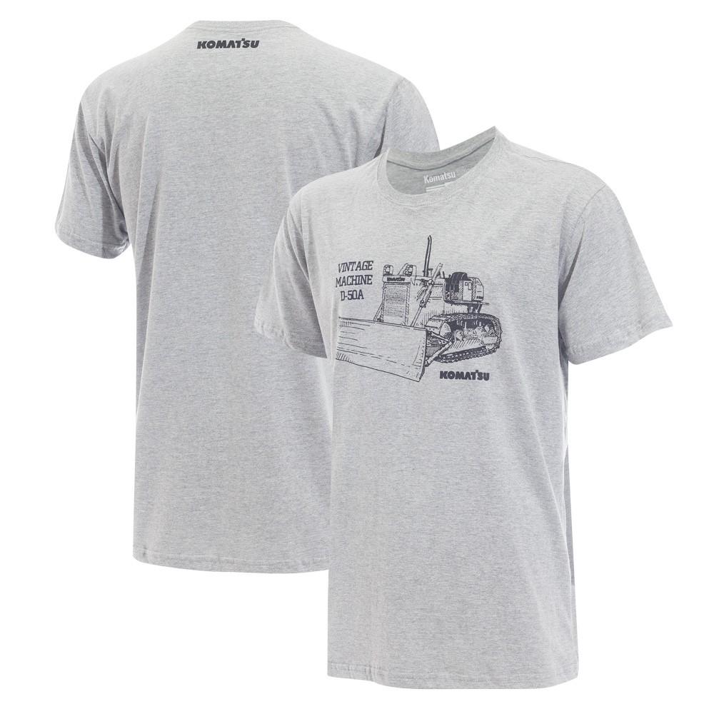 Camiseta Masc. KOMATSU Vintage D50A Cinza Mescla