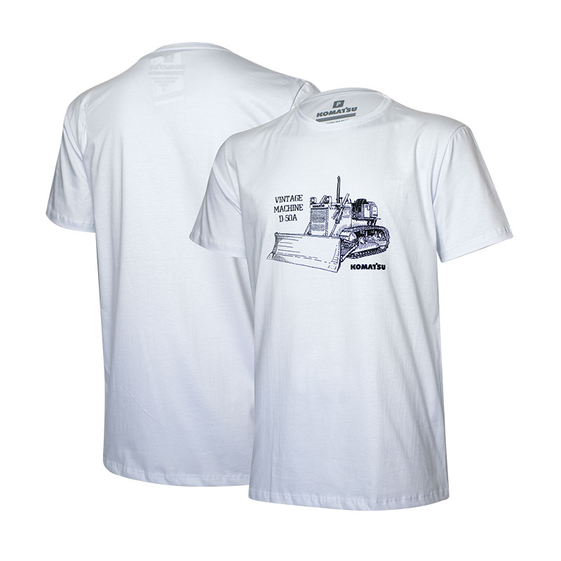 Camiseta Masc. KOMATSU Vintage D50A - Branca