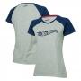 Camiseta Fem. Hot Wheels Logomania Raglan - Cinza Mescla/Azul