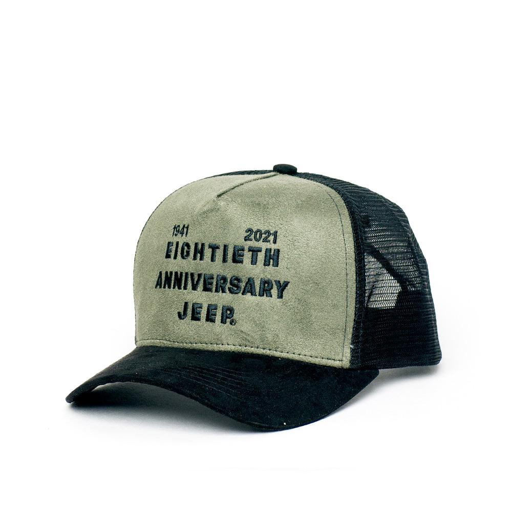 Boné Trucker JEEP - 80th Anniversary - Lettering - Suede Verde Militar / Preto