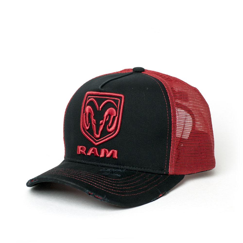 Boné RAM Trucker Logo Bordado - Preto/Vermelho