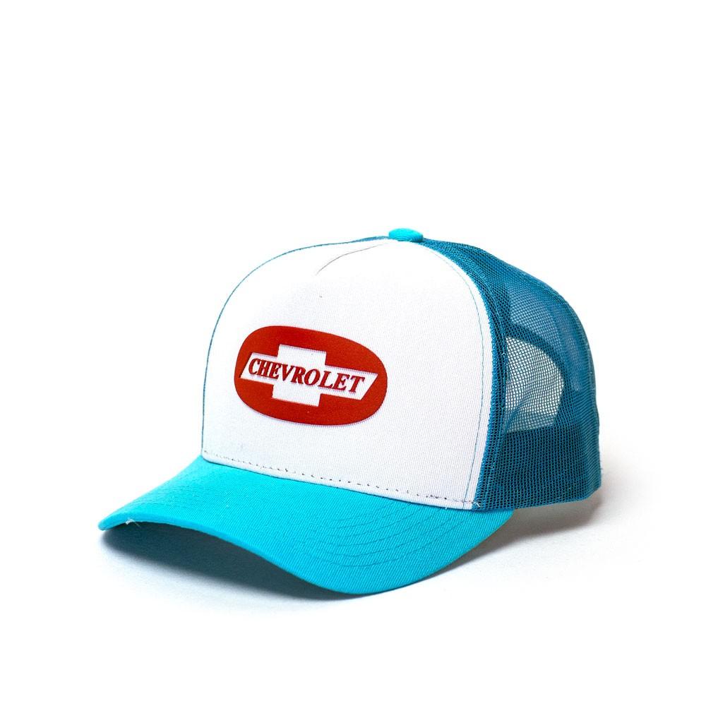 Boné Trucker Chevrolet Classics Badge - Azul Claro/Branco