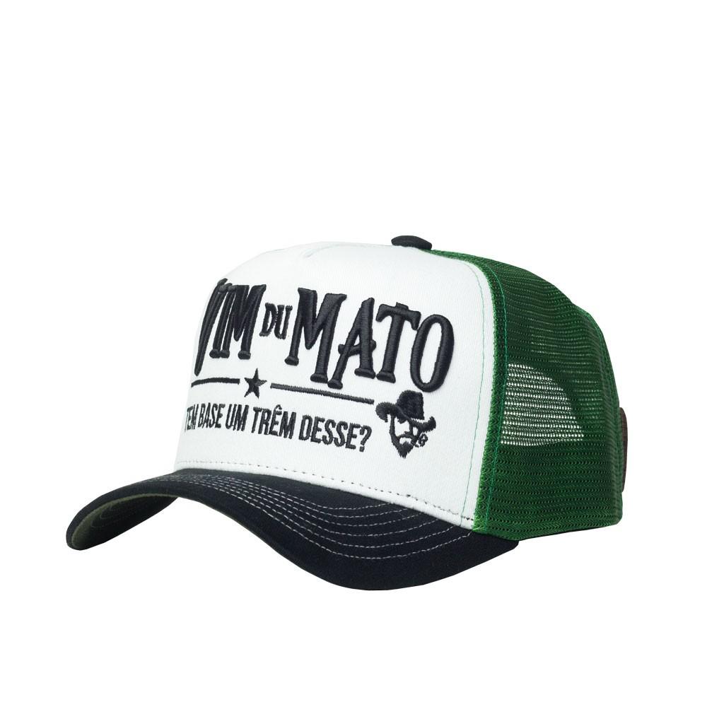 Boné Trucker Vim Du Mato - Logo Bordado - Branco / Verde / Preto