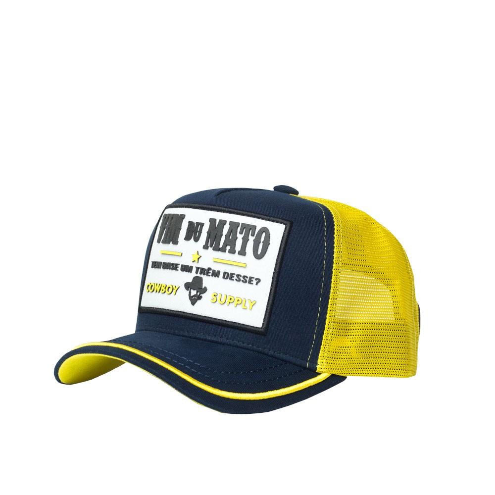 Boné Trucker Vim Du Mato - Patch Cowboy Supply - Azul / Amarelo