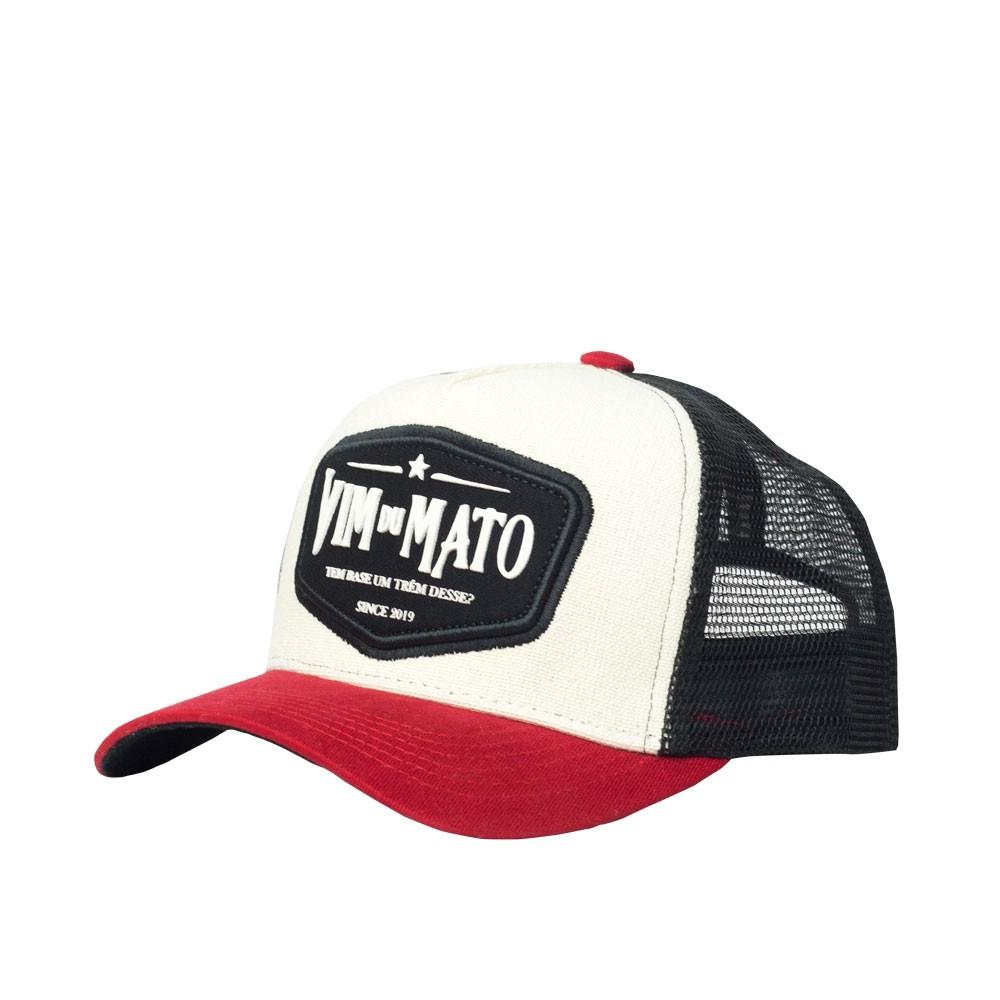 Boné Trucker Vim Du Mato - Patch - Offwhite / Preto / Vermelho
