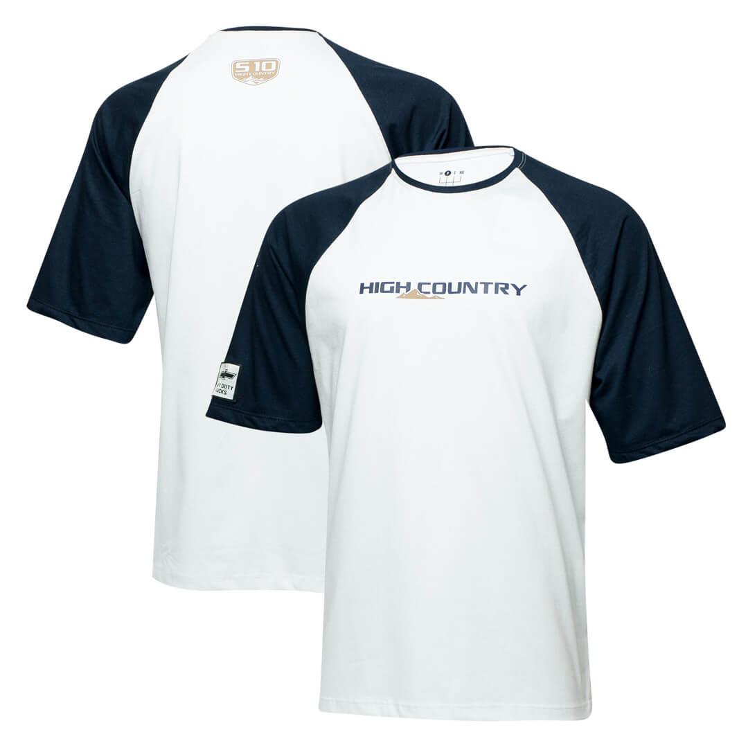 Camiseta Masc. Chevrolet High Country Raglan - Branco/Azul Marinho