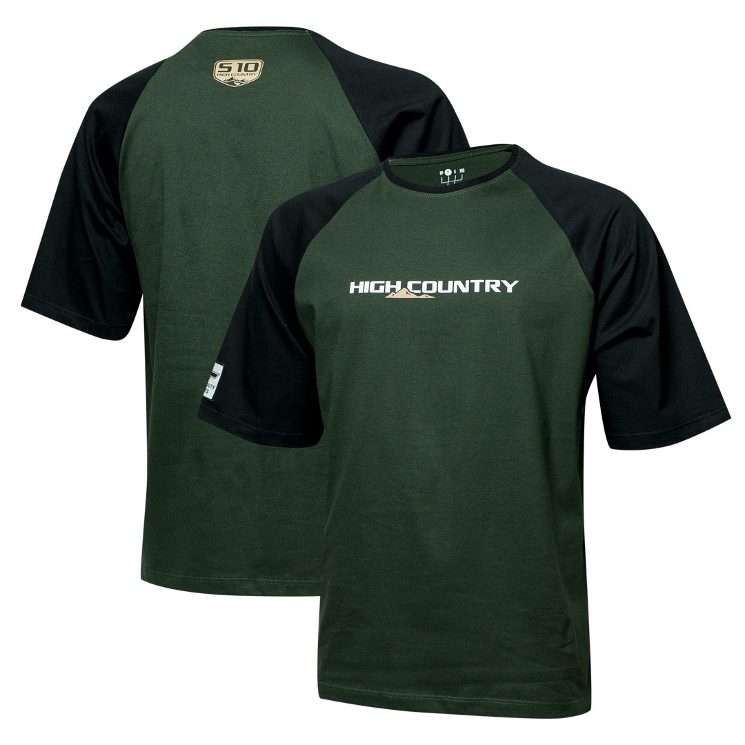 Camiseta Masc. Chevrolet High Country Raglan - Verde/Preto
