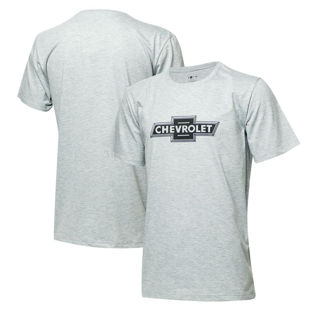 Camiseta Masc. Chevrolet Logo - Cinza Mescla