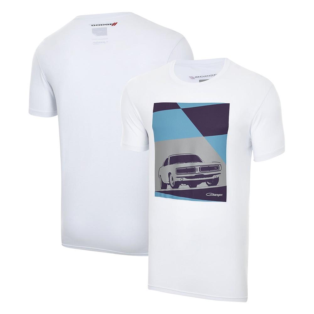 Camiseta Masc. Dodge Charger Vintage - Branca