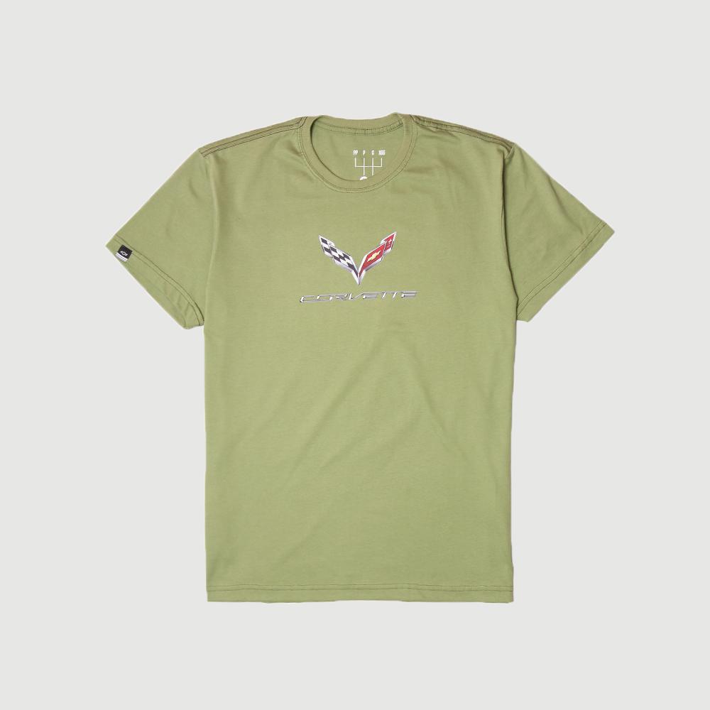 Camiseta DTG Chevrolet Corvette Features - Verde