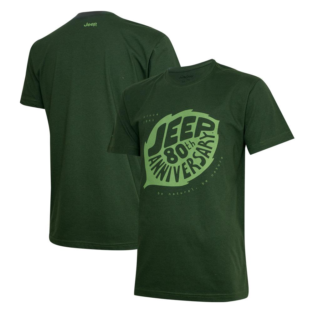 Camiseta DTG JEEP 80th Anniversary Leaf - Verde Militar