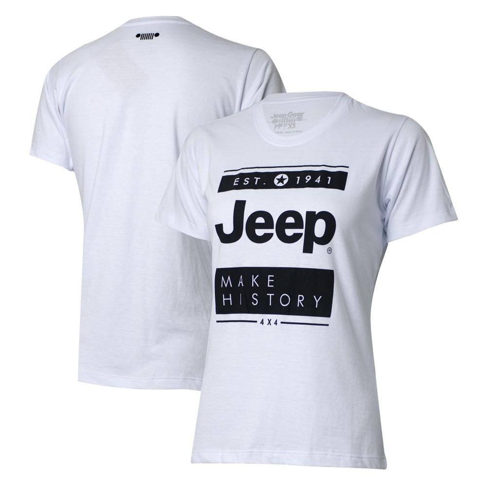 Camiseta Especial Fem. JEEP Block - Branca