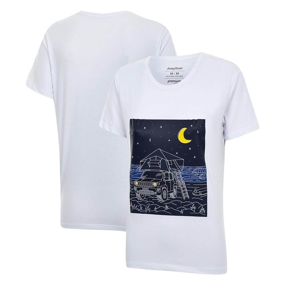 Camiseta Especial Fem. JEEP e WSL Renegade Camping Branca