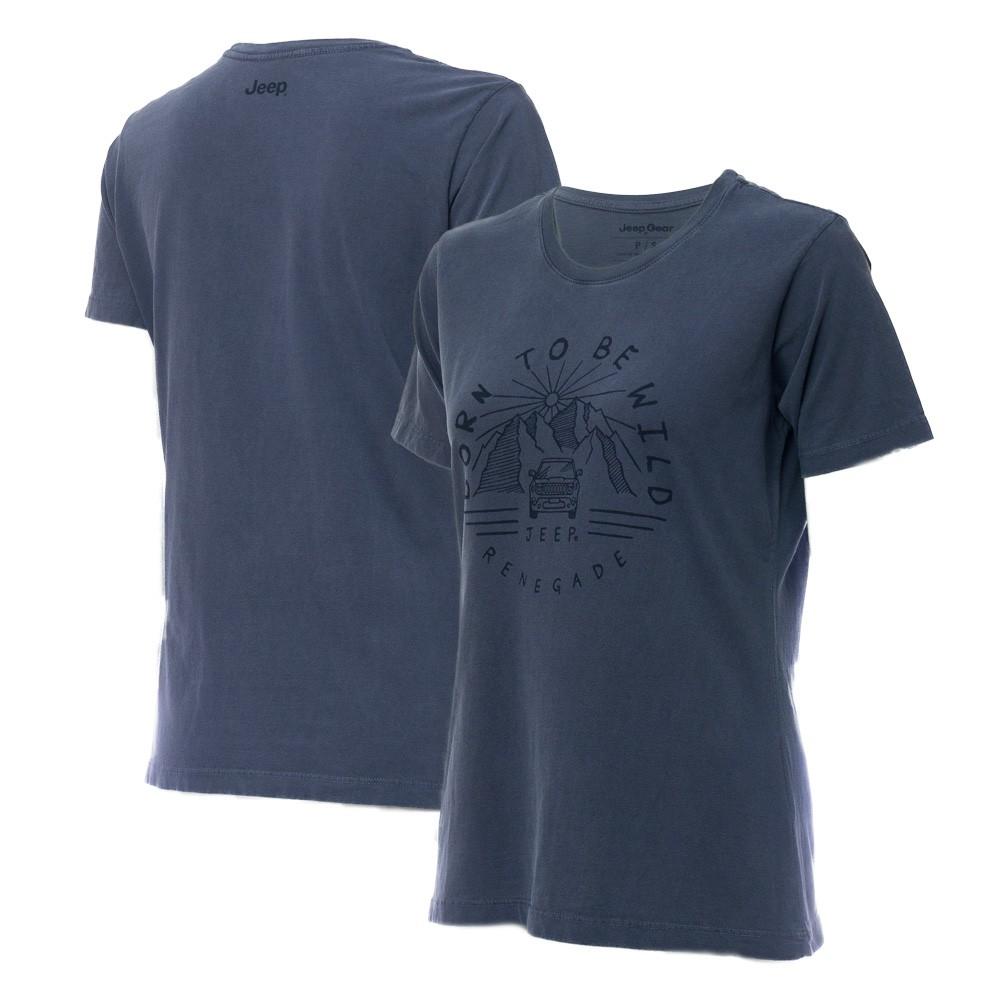 Camiseta Especial Fem. JEEP Renegade Wild Lavada Estonada - Azul Marinho