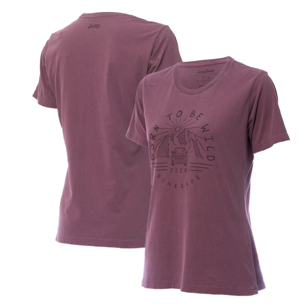 Camiseta Especial Fem. JEEP Renegade Wild Lavada Estonada - Vinho