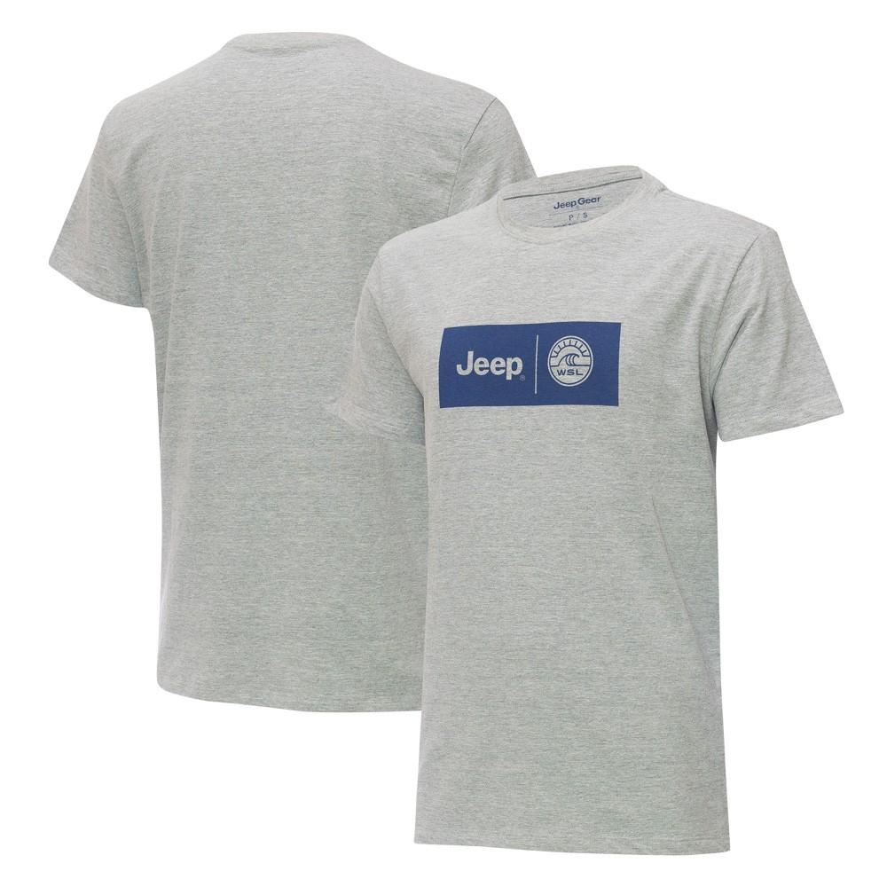 Camiseta Especial JEEP e WSL  - Logo Colab - Cinza Mescla