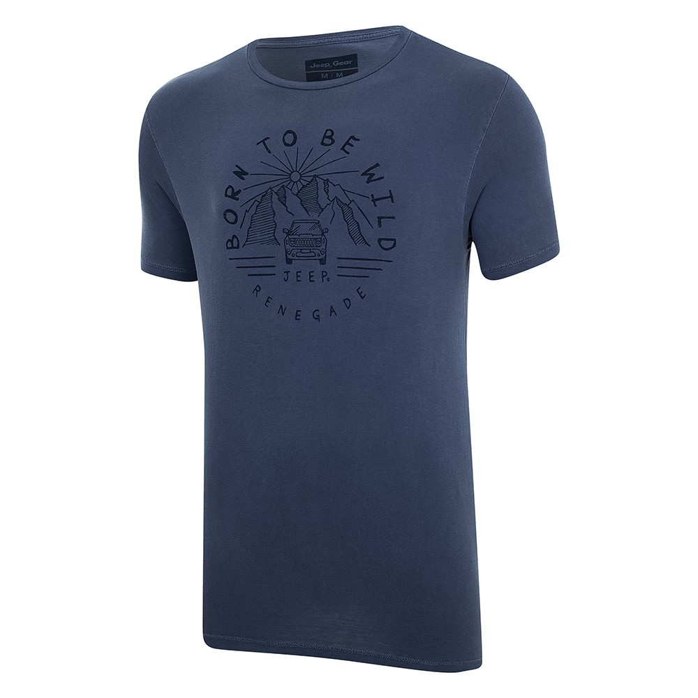 Camiseta Masc. Especial JEEP Renegade Wild Lavada Estonada - Azul Marinho