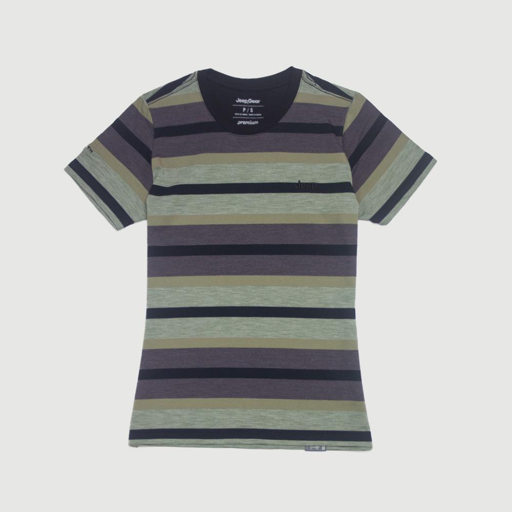 Camiseta Fem. Especial JEEP 80th Anniversary Natural Striped - Verde