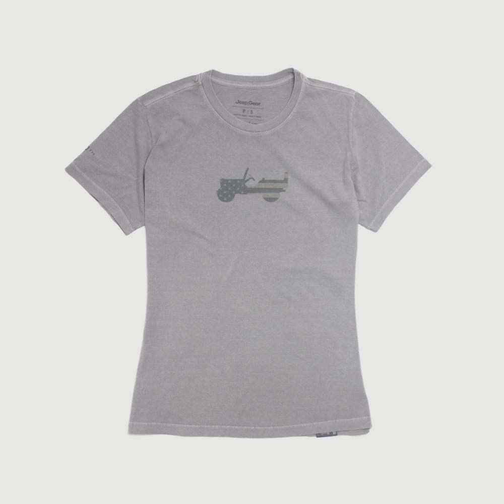 Camiseta Fem. JEEP 80th Anniversary Estonada - Cinza