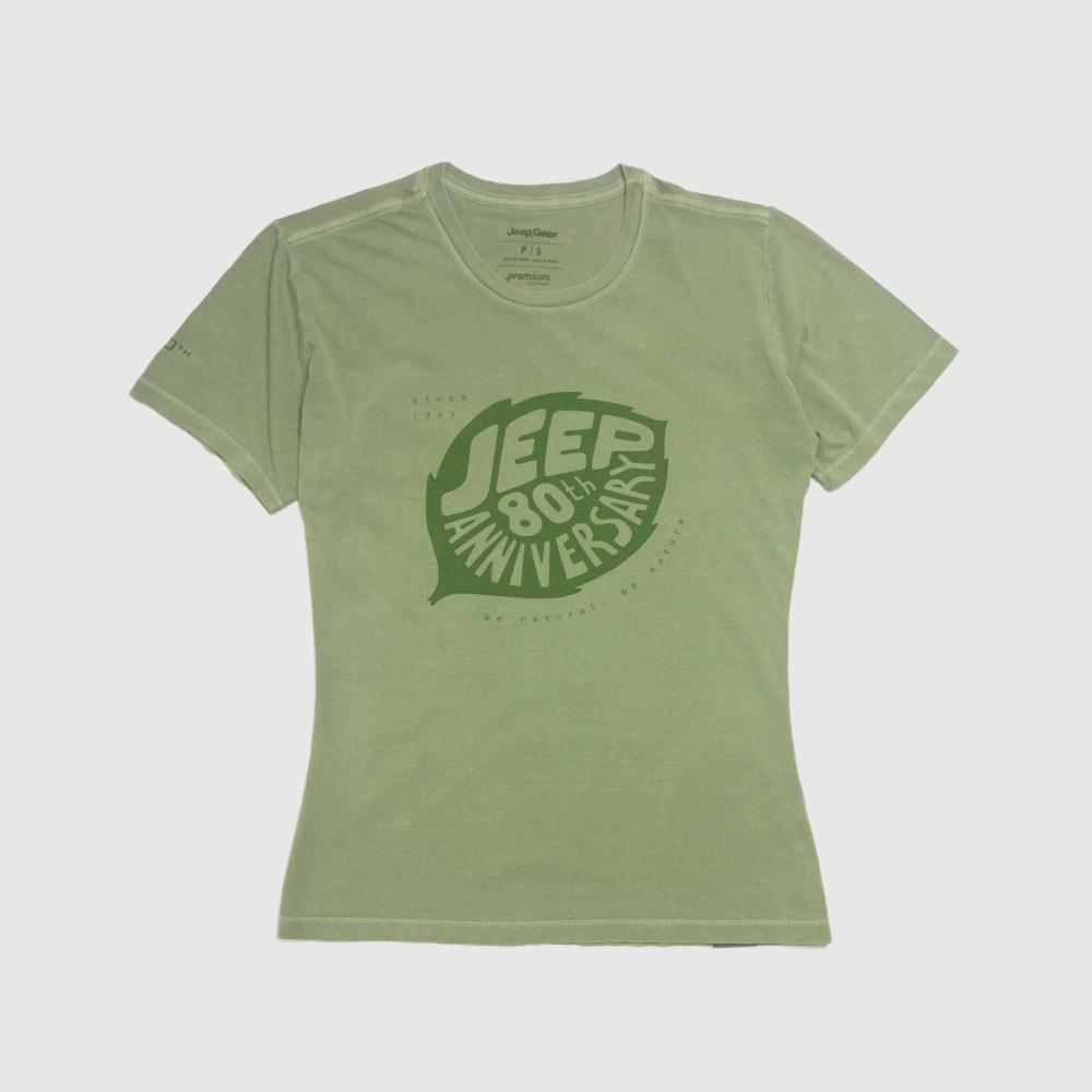 Camiseta Fem. JEEP 80th Anniversary Leaf Estonada - Verde Militar