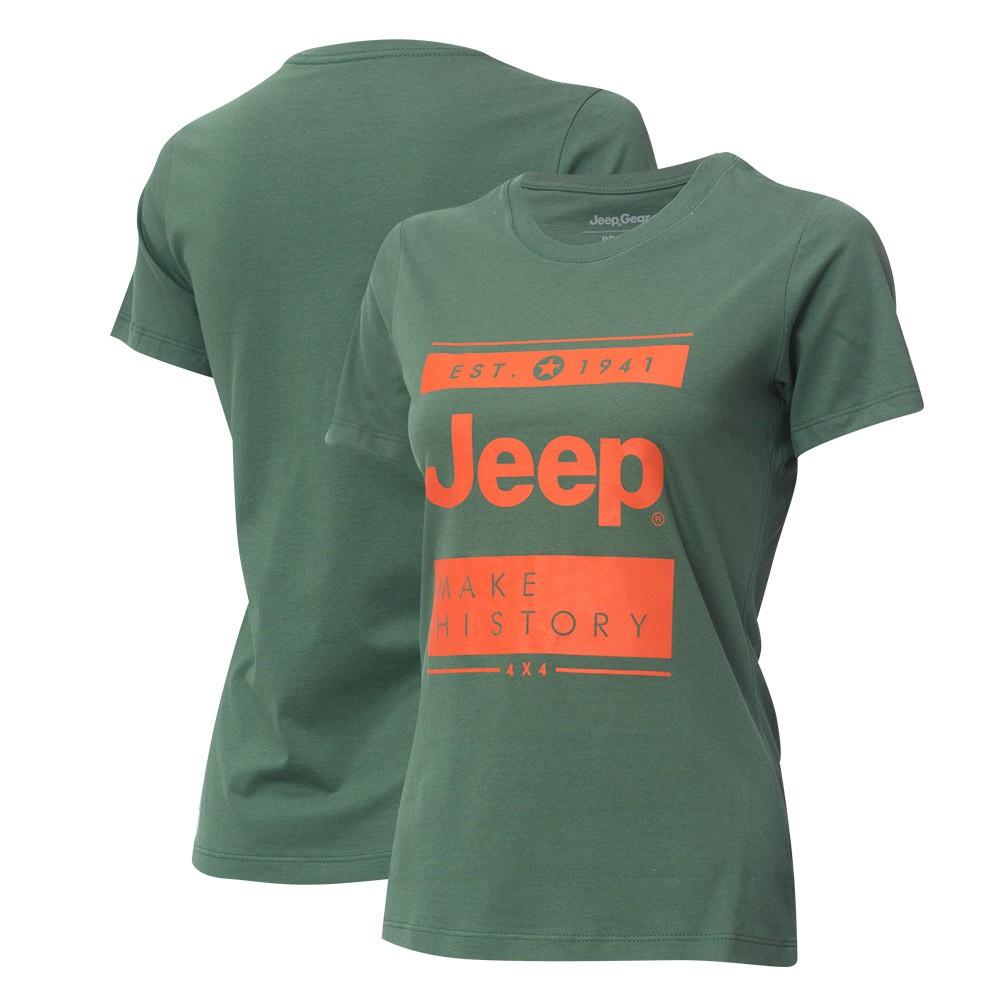 Camiseta Fem. JEEP Block - Verde Militar/Laranja
