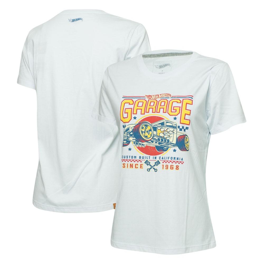 Camiseta Fem. Hot Wheels Gear Head Garage - Branca