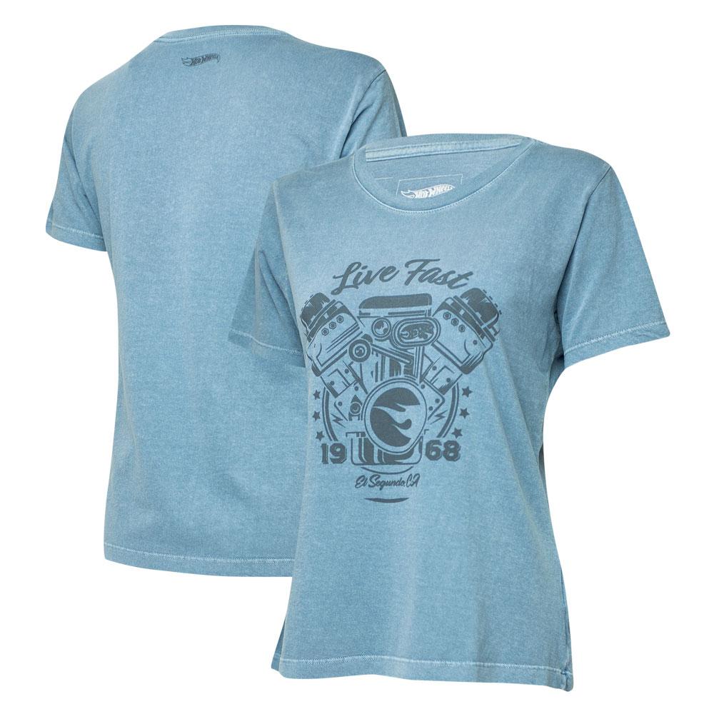 Camiseta Fem. Hot Wheels Gear Head Live Fast Estonada - Azul