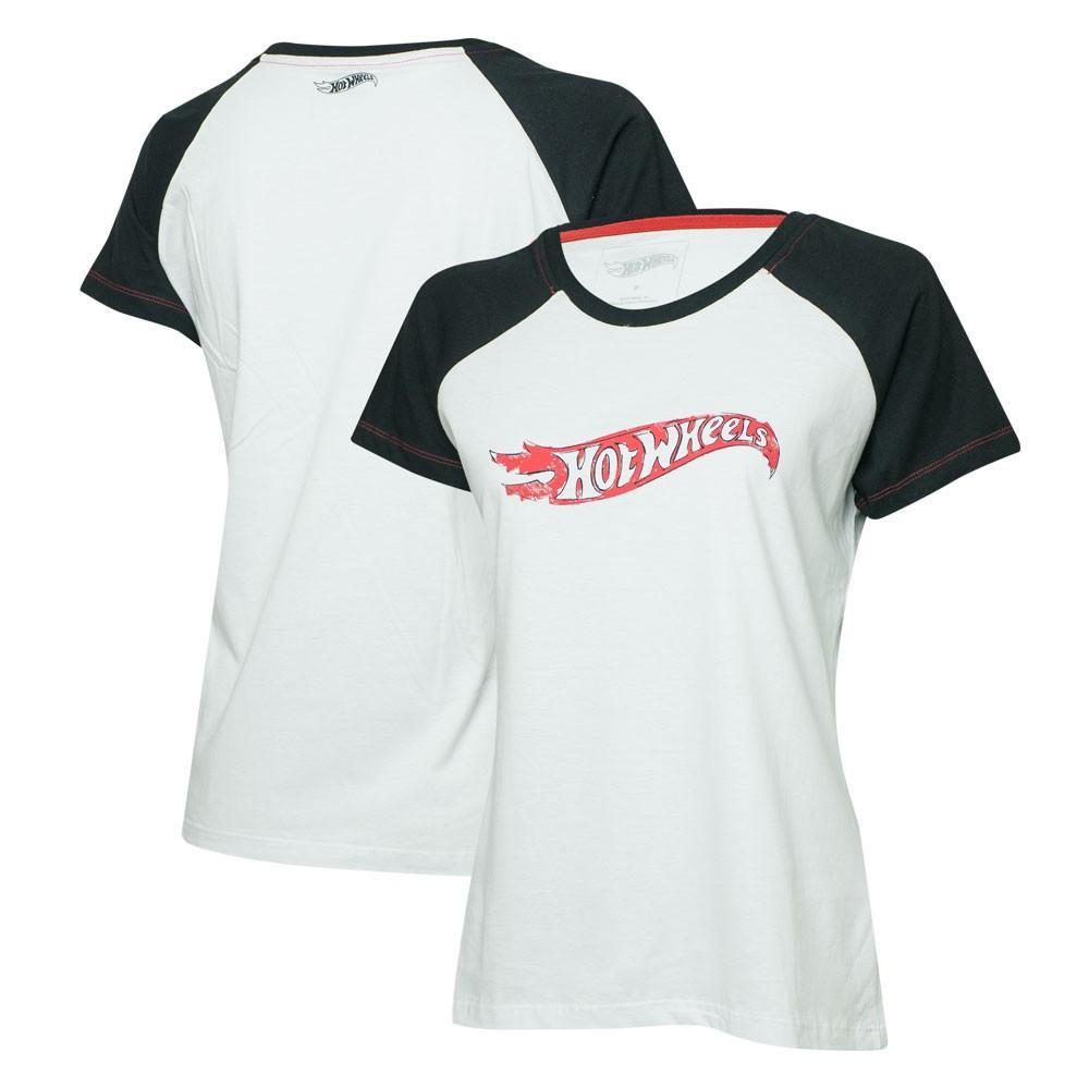 Camiseta Fem. Hot Wheels Logomania Raglan - Branca/Preta