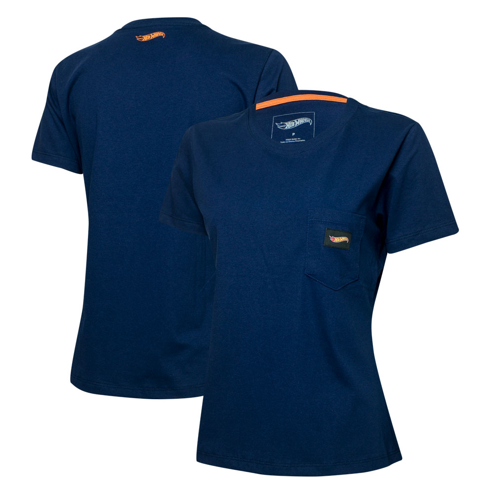 Camiseta Fem. Hot Wheels Logomania Pocket - Azul