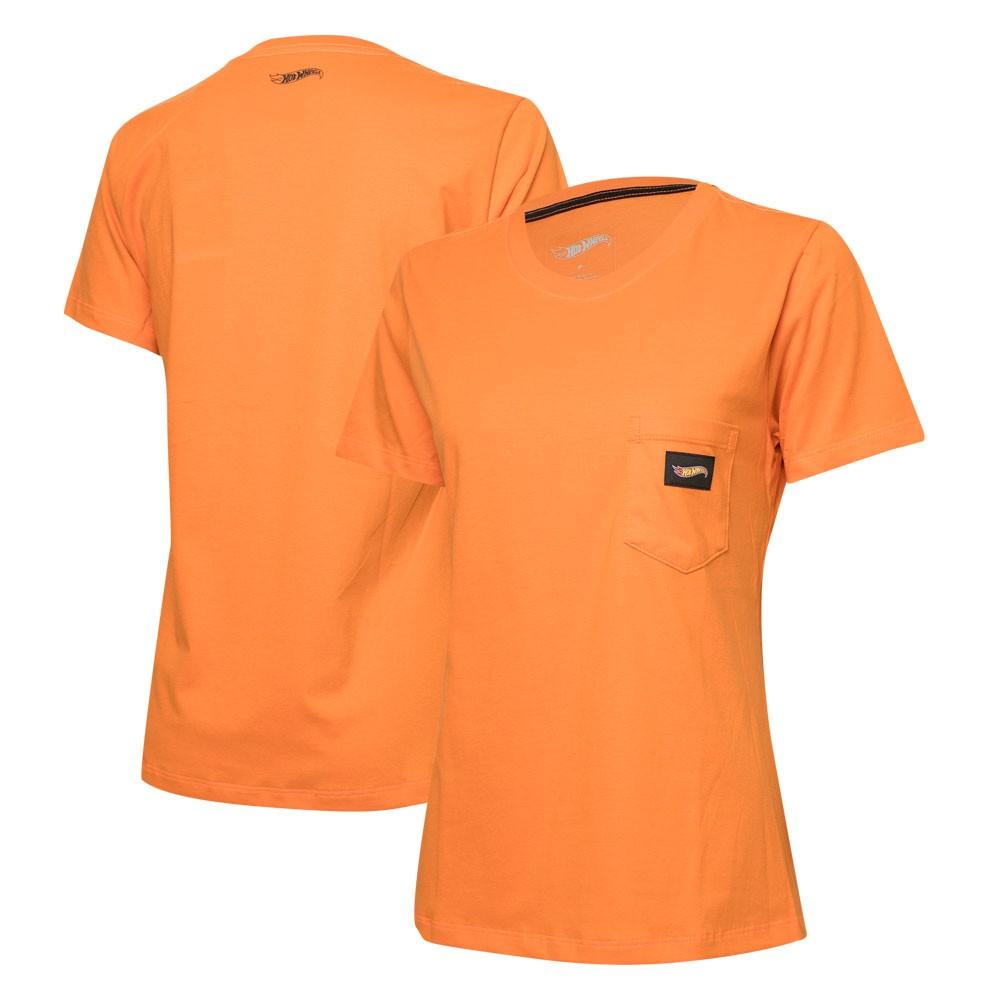 Camiseta Fem. Hot Wheels Logomania Pocket - Laranja
